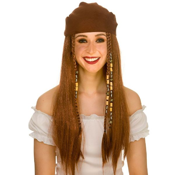 Adults Mens Deluxe Pirate Wig & Bandana Accessory Hook Sparrow Blackbeard Fancy Dress